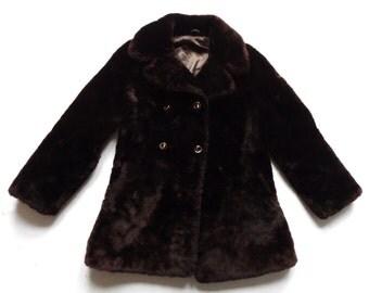 Women's Vintage 70's Faux Fur Coat UK Size 10 - 12