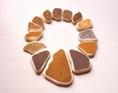 Earthy color Sea Pottery Lot, Matching Pieces, Large Beach Pottery, Pendant Sized, Mosaic/Mixed media/Craft Supplies,