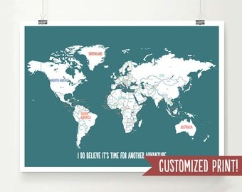 Personalized World Map, World Map Print, Personalized Map, Travel Art Décor, Wedding Gift,Personalized Graduation Gift,Map of the World,Blue