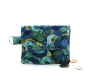 Flower print wallet, womens small wallet, blue zipper coin purse, small blue wallet, fabric card holder, blue coin purse, keyholder