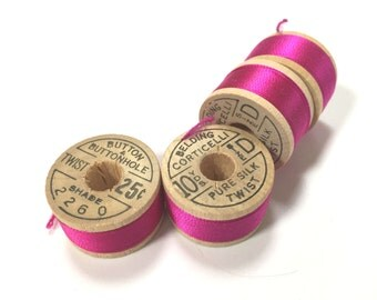 BELDING CORTICELLI - Vintage Thread - Pure Silk - Cherise Rose Pink #2260 - 10 yd Spools - Buttonhole Embroidery Ribbon Fly Tying Fishing