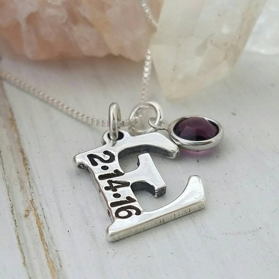 Custom Initial necklace, Sterling silver Initial Necklace, Initial Date necklace, Letter Initial, Personalized mother necklace, Birthstone
