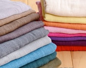 16 Colors Cotton Linen Gauze Gabric, Bamboo Sparse Texture Fabric for Scarf Curtain, Grey Blue Beige Yellow Orange Purple Pink -  One yard