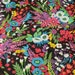 Shabby Chic Fabric Bright Large Flower Cotton Fabric On Black Cotton - 1/2 Yard