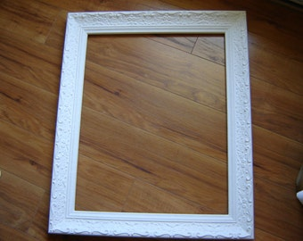 White ornate frame wood and gesso frame large frame photo prop wedding decor home decor open frames 24x20 inch frame