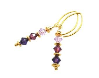Special Shades of Purple in Swarovski crystal earrings, Vermeil earwires