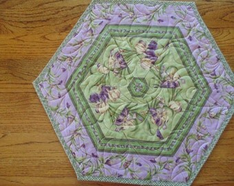 Purple and Green Iris and Tiny Tulips Quilted Hexagonal Table Topper