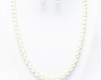 20 Inch Ivory Glass Pearl Necklace & Earrings Set