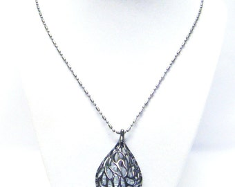 Gum Metal Drop w/Crystal Glass Bead Inside Pendant Necklace