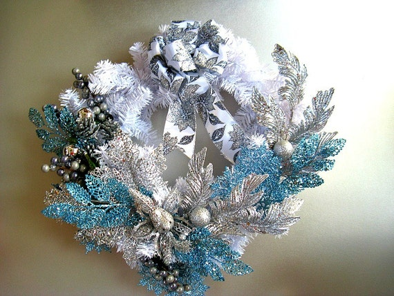 "Large silver and light blue Christmas holiday wreath/24"" decorative white wreath/Christmas wreath decoration/Christmas holiday decor (C456)"