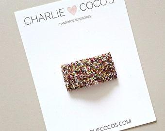 Metallic Confetti Glitter Snap Hair Clip // Baby Girl Glitter Snap Hair Clip by charlie coco's