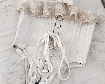 CLEARANCE Rare antique girls corset bodice lace patchwork vintage cotton shabby french nordic chic