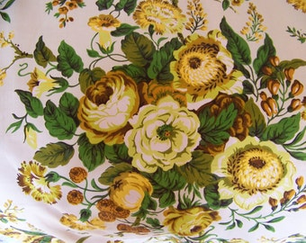 "Vintage Floral Fabric.An Original Design by Hero Fabric I.C. Vat Color Screen Print Evernu Finish.11 Yards plus 15"".Retro Floral Fabric."
