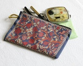 Dark Blue Wallet, Red Roses Coin Purse, Small Purse, Keychain, Money Bag, İvy Roses Purse, Womens Gift For Her