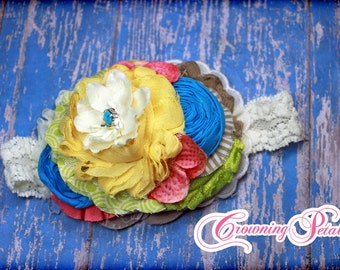 Mustard Pie Spring 2016, M2M Rose Garden, Yellow, Lime Green, Blue, Red Headband, Hair Piece, Hair Accessory, Coral, Taupe, Ivory Hair Clip