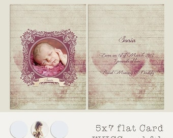 ON SALE Card Template, 5x7 in, WHCC, .psd. Birth Announcement/Any Ocassion
