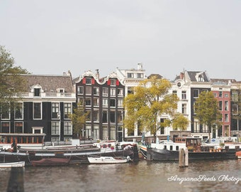 Amsterdam travel photo, Holland photo, Netherlands, Architecture, Canal, Houseboats, Cityscape, Nautical, Fall, Gift under 50, Christmas