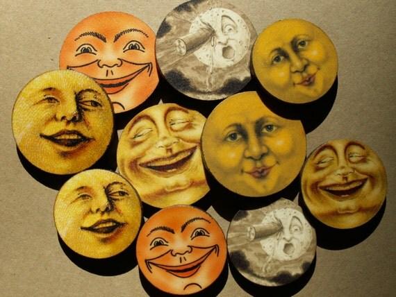 Set of 10 Vintage Moon Laser Cut Wooden Images