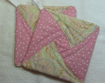 Pot Holder Quilted Hot Pad or Trivet Quilted Pot Holder Trivet set of 2 Ready to Ship