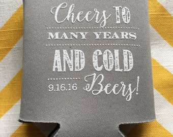 Cheers to Many Years and Cold Beers Modern wedding favor, Cold beers coolie, chalkboard font can cooler, cheers to many years coolie