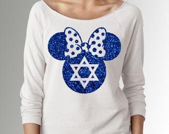 Minnie Mouse Hanukkah * White * Blue Glitter Sleeve Raglan Boat Neck Summer Sweater * Disneyland/Disney World * Mickey's Very Merry Party