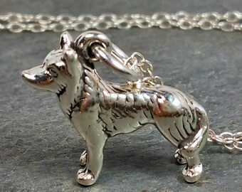 Siberian Husky Necklace - 925 Sterling Silver - 3d Dog Puppy Charm Jewelry New
