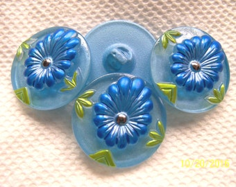 Czech  Glass Buttons  4 pcs  Reverse PAINTED  27mm   IVA RP 040