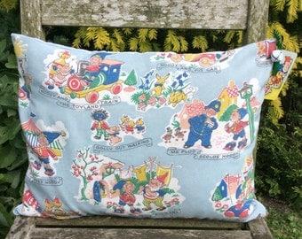 Vintage original Noddy fabric cushion - blue