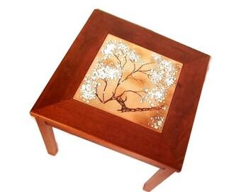 Mid Century Table -Brown Saltman - Modern End Table - Enameled Copper Tile Table - Walnut - 1960s - John Keal