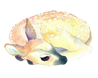 Fawn No. 3, Archival print from original watercolor, you choose size