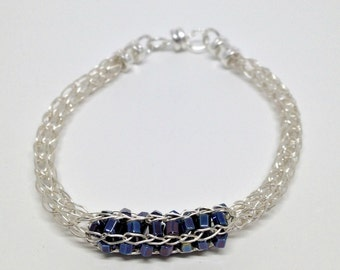 Ladies beaded viking knit non tarnish silver plate bracelet, silver and navy