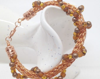 raw copper and beaded two strand viking knit ladies bracelet
