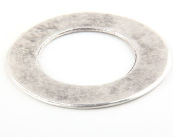 Large Flat Circle Pendant Connector, Matte Silver Plated, 1 piece // SC-153