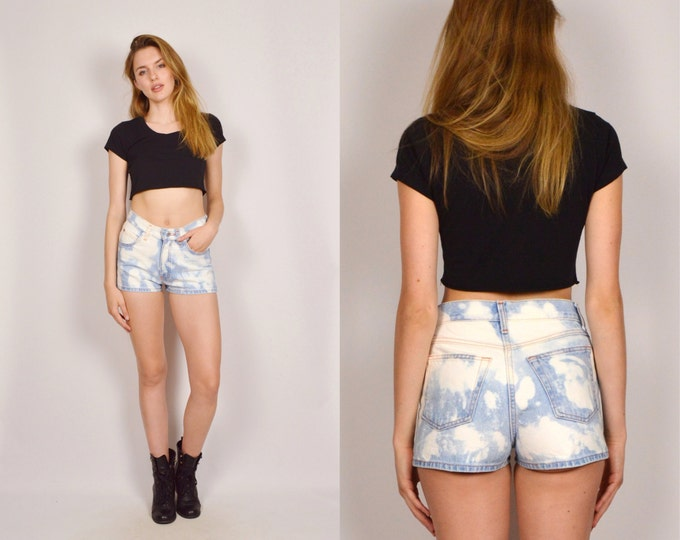 Bleach Dyed High Waisted Denim Shorts