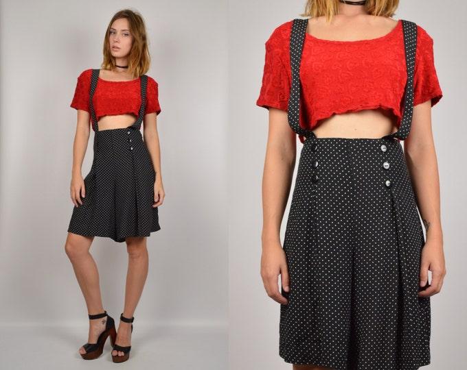 90's Suspender High Waisted Shorts polkadot vintage