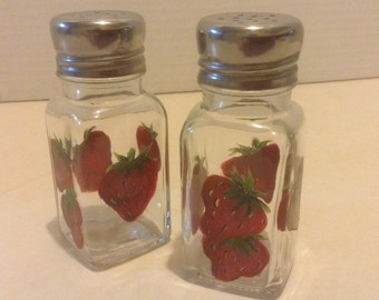 Salt & Pepper shakers, strawberries, hand painted, red with green leaves.