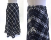 Wool Skirt - Plaid Skirt - 1990s 90s - Black And White - Long / Maxi Skirt - XS Extra Small