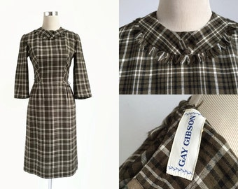 1950's Dress - 50's Vintage Dress - Gay Gibson - Khaki Brown Check - Preppy Plaid Dress