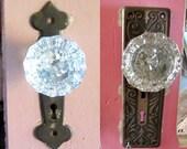 Crystal Glass Doorknobs - 2 Door Plates - Lock Mechanism - Victorian -