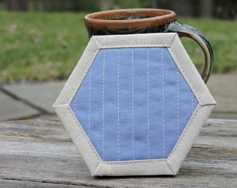 Hexagon Coasters, Coasters, Quilted, Periwinkle, Linen Coasters, Set of Four, Modern Hostess Gift, Mug Rug, Gift Under 20