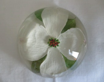 Vintage W. Rolfe Domed Lucite Dogwood Paperweight