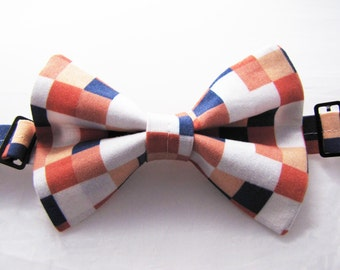 No-Tie Bowtie (Adult, child, or baby) - Coral & Navy Pixelate