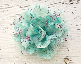 Mint Floral Chiffon and Lace Shabby Chic Flower for DIY Crafts - Great for Baby Headbands - CLEARANCE