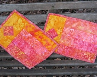 Peach Quilted Snack Mat Set - Mug Rugs - Candle Mats - Hot Pads