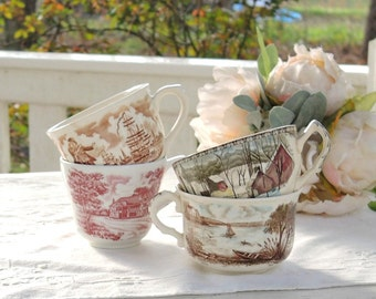 Vintage English Country Mismatched Tea Cups, Set of 4, Shabby Chic, Tea Party, Mid Century,Wedding, Bridesmaid Gifts