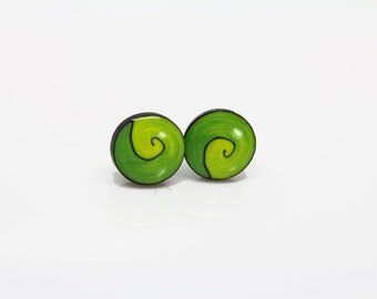 Green Polymer clay stud earrings - Green spiral studs -hand made post earrings -Hippie style earrings - Tribe