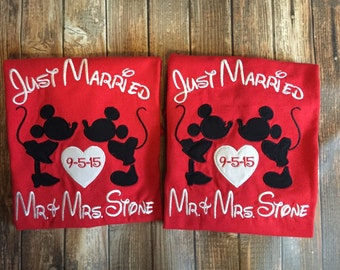 Disney vacation honeymoon just married matching shirts