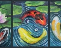 "Koi Panorama, multiple canvas, five 11""x14"", original oil on canvas"