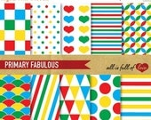 80% off Scrapbooking DIGITAL Paper Pack PRIMARY Fabulous Red Green Blue and Yellow Colors Printable Backgrounds