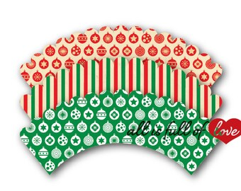 Christmas Cupcake Wrappers Printable Xmas Decor Christmas party cupcake holders red green wrappers template